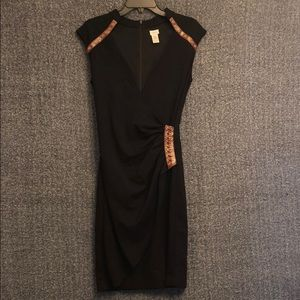 Black cache dress with leather accents